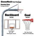 Gared Standard Duty Gooseneck Package - Rectangular Backboard w/o Border
