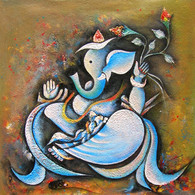 Ganesha holding modak on his head