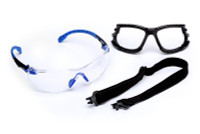 3M Solus 1000-Series S1101SGAF-KT, Kit, Foam, Strap, Black/Blue, Clear Scotchgard Anti-fog Lens 20 EA/Case