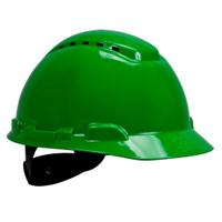3M Hard Hat H-704V, Vented Green 4-Point Ratchet Suspension, 20 EA/Case