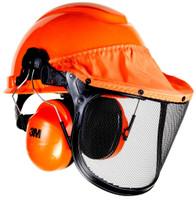 3M LumberJack Hard Hat System H-706PFK, Pinlock Suspension, Mesh Visor, Ear Muffs 1 EA/Case