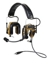 3M PELTOR ComTac IV Hybrid Communication Headset, Single Comm, Flexi Boom Mic, MT16H044FB-47 CY, Coyote Brown 1 EA/Case