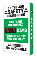 On The Job Safety Begins Here / This Plant Has Worked #### Days Without A Lost Time Accident / Accidents Are Avoidable  - SCA219