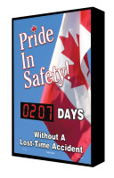 "Pride In Safety (Canada Flag) #### Days Without A Lost-Time Accident 28"" x 20"" - SCF202"