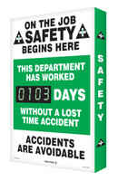 "On The Job Safety Begins Here This Department Has Worked #### Days Without A Lost Time Accident Accidents Are Avoidable 28"" x 20"" - SCG103"