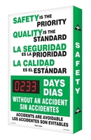 "Safety Is The Priority Quality Is The Standard #### Days Without An Accident Accidents Are Avoidable 28"" X 20"" - SHSCG108"