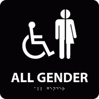 All Gender/Handicapped Braille Ada Sign(W/Handicap Symbol) Blk 8X8