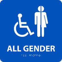 All Gender/Handicapped Braille Ada Sign(W/Handicap Symbol) Blue 8X8