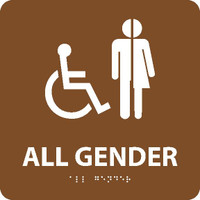 All Gender/Handicapped Braille Ada Sign (W/Handicap Symbol) Brown 8X8