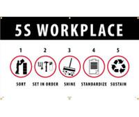 Banner 5S Workplace Sort Set In Order Shine Standardize Sustain 3Ftx5Ft Polyethylene