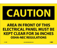 Caution Area In Front Of This Electrical Panel . . . 10X14 Ps Vinyl