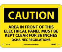 Caution Area In Front Of This Electrical Panel . . . 7X10 Rigid Plastic