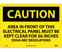 Caution Area In Front Of This Electrical Panel . . . 10X14 Rigid Plastic