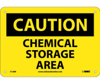 Caution Chemical Storage Area 7X10 Rigid Plastic
