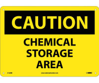 Caution Chemical Storage Area 10X14 Rigid Plastic