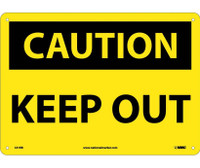 Caution Keep Out 10X14 Rigid Plastic