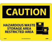 Caution Hazardous Waste Storage Area Restricted Area Graphic 10X14 Rigid Plastic