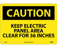 Caution Keep Electric Panel Area Clear For 36 Inches 10X14 .040 Alum