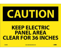 Caution Keep Electric Panel Area Clear For 36 Inches 10X14 Ps Vinyl