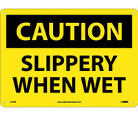 Caution Slippery When Wet 10X14 Rigid Plastic
