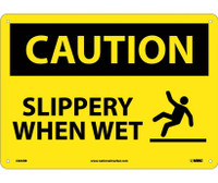 Caution Slippery When Wet Graphic 10X14 Rigid Plastic