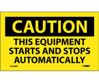 Caution This Equipment Starts And Stops Automatically 3X5 Ps Vinyl 5/Pk
