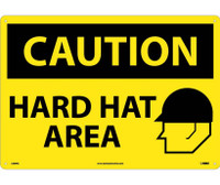 Caution Hard Hat Area Graphic 14X20  Rigid Plastic