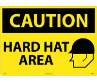 Caution Hard Hat Area Graphic 20X28 Rigid Plastic