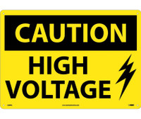 Caution High Voltage Graphic 14X20 Rigid Plastic