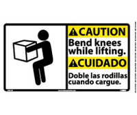 Caution Bend Knees While Lifting (Bilingual W/Graphic) 10X18 Ps Vinyl