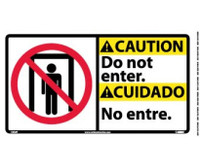 Caution Do Not Enter (Bilingual W/Graphic) 10X18 Ps Vinyl