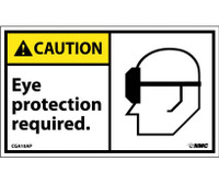Caution Eye Protection Required (Graphic) 3X5 Ps Vinyl 5/Pk
