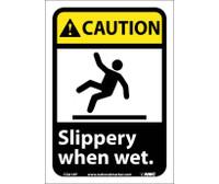 Caution Slippery When Wet (W/Graphic) 10X7 Ps Vinyl
