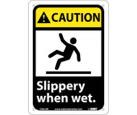 Caution Slippery When Wet (W/Graphic) 10X7 Rigid Plastic
