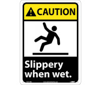 Caution Slippery When Wet (W/Graphic) 14X10 Rigid Plastic