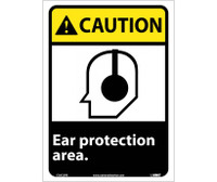 Caution Ear Protection Area 14X10 Ps Vinyl