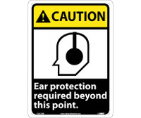 Caution Ear Protection Required Beyond This Point 14X10 Rigid Plastic