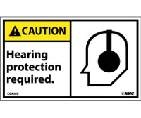 Caution Hearing Protection Required (Graphic) 3X5 Ps Vinyl 5/Pk