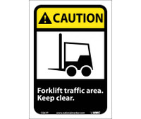 Caution Forklift Traffic Area Keep Clear (W/Graphic) 10X7 Ps Vinyl
