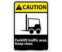 Caution Forklift Traffic Area Keep Clear (W/Graphic) 14X10 Ps Vinyl