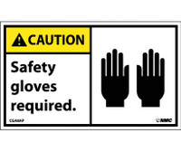 Caution Safety Gloves Required (Graphic) 3X5 Ps Vinyl 5/Pk