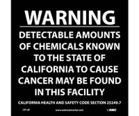 California Prop 65 Warning Detectable Amounts Of Chemicals. . . 10X10 Ps Vinyl