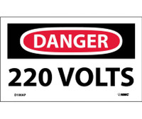 Danger 220 Volts 3X5 Ps Vinyl 5/Pk
