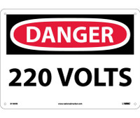 Danger 220 Volts 10X14 Rigid Plastic