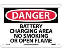 Danger Battery Charging Area No Smoking Or Open. . . 7X10 Rigid Plastic