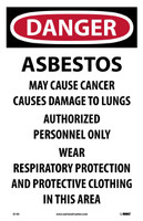 Danger Asbestos Cancer And Lung Disease Hazard .. 17X11 Paper 100/Pk