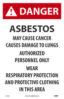 Danger Asbestos May Cause Cancer 17X11 Paper 100/Pk
