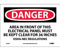 Danger Area In Front Of This Electrical Panel 7X10 Ps Vinyl