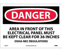 Danger Area In Front Of This Electrical Panel 10X14 Ps Vinyl
