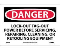 Danger Lockout Tagout Power Before Servicing. . . 7X10 Ps Vinyl